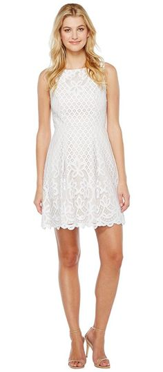 Adrianna Papell Giselle Lace Fitand Flare Dress (White/Chamois) Women's Dress - Adrianna Papell, Giselle Lace Fitand Flare Dress, 013263820-184, Apparel Top Dress, Dress, Top, Apparel, Clothes Clothing, Gift, - Fashion Ideas To Inspire