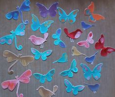 Die-cuts painted with Pebeo Prisme paint - great for card embellishments!