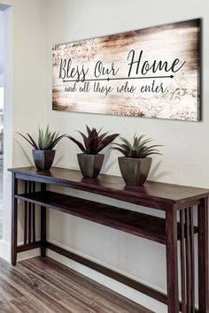 """Small foyer entryway hall pallet wood wall sign - LOVE this """"bless our home"""" wall decor! decor small DIY Foyer Decorating Ideas For Small Foyers and Apartment Entryways - Involvery Home Wall Decor, Home Wall Art, Diy Home Decor, Entryway Wall Decor, Living Room Decor For Walls, Outside Wall Decor, Dinning Room Wall Decor, Small Wall Decor, Pallet Wall Decor"""