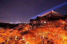 「奥之院」から眺めた清水の夜の清水の舞台。 夜の闇、燃えるような紅葉、ライトアップされた清水寺が見事に融和して幻想的な美しさを醸し出しています。