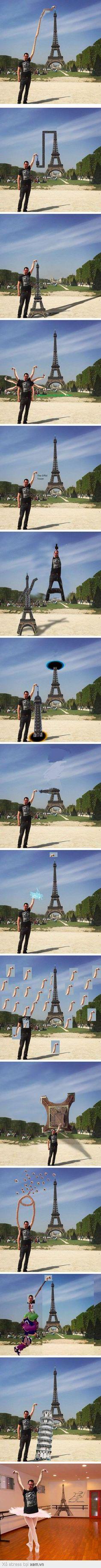 Nhờ thánh photoshop chế tay chạm vào tháp... nhận trái đắng =))