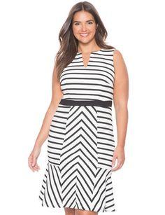 eloquii opposing stripes dress