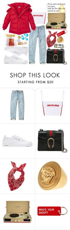 """watch"" by tasnim-ali ❤ liked on Polyvore featuring Hollister Co., Reebok, Gucci, Versace, Crosley, Various Projects, CO, versace, hollister and gucci"