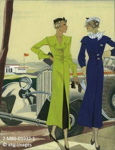 2-M80-D1932-1 1932 design for two car coats for ladies akg-images / Gerd Hartung