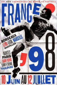 Poster mundial de fútbol. #France 1998 #FIFA #Mundial Fútbol Diseño http://creativittaagencia.blogspot.com/2014/07/posters-world-cup-1930-2014.html