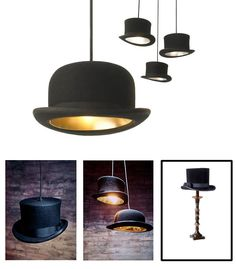f you fancy yourself a home with character and nobility, look no further than adding top hat lights. This DIY instruction guide will show you how to easily make a top hat lighting fixture that will add a ton of personality to your humble abode. Pendant Lighting, Chandelier, Diy Light Fixtures, Diy Tops, Deco Originale, I Love Lamp, Light Project, Project 24, My New Room