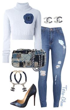"""""""Denim Delight"""" by terra-glam on Polyvore featuring Balmain, Chanel and Christian Louboutin"""