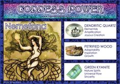 Goddess Power: Nemetona - Stones: Dendritic Quartz, Petrified Wood and Green Kyanite