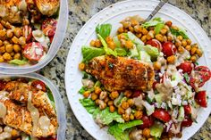Try this delicious Greek chicken and chickpea chopped salad meal prep with spiced, roasted chicken chickpeas and a luscious balsamic tahini dressing!