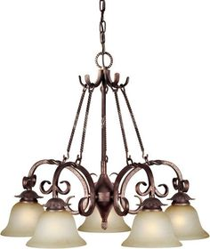 Photon 5 Light 23'' Black Cherry Finish Incandescent Chandelier with Umber Mist Glass at Menards