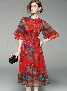 Shop for high quality Bohemian Flare Sleeve Print Chiffon Skater Dress online at cheap prices and discover fashion at Ezpopsy.com