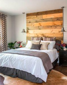 Cabecero dormitorio madera pared