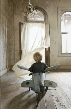 Little boy riding his toy airplane Toni Kami ~•❤• Bébé •❤•~ shabby chic window room lovely photography idea