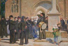"""Lucien SIMON (1861-1945) """"Le garde champêtre à Pont l'Abbé"""" gouache"""