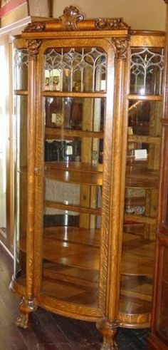 Super Quartered Oak Leaded Glass China Cabinet Triple Curved 14774 | eBay