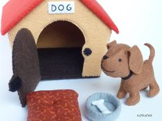 Kosucas : Caseta para perros de fieltro.= House Felt kennel with dog and blanket and food bowl - stuffed soft toy craft idea project child pushie