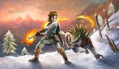 "eternalegend-art: ""Another one of my TLOZ: Breath of the Wild pieces. This time focusing on the snow environment and the addition of Wolf Link! I made…"
