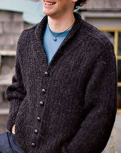 """Knitting Pattern for Men's Shawl Collar 2-Row Repeat Cardigan - This man's shawl-collar cardigan features an all-over two-row repeat garter-rib stitch and set-in saddle shoulders. Sizes 36 (41¼, 44¼, 48, 53¼)"""" (91.5 [105, 112.5, 122, 135] cm) chest circumference"""