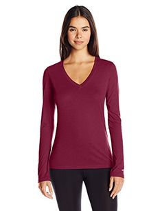 Soffe Womens Long-Sleeve V-Neck Tissue T-Shirt *** Continue to the product at the image link. (This is an affiliate link)