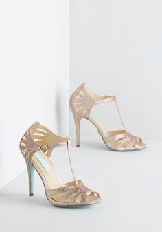 Go-Glitter Attitude Heel in Champagne by Betsey Johnson - High, Faux Leather, Gold, Solid, Glitter, Special Occasion, Prom, Wedding, Party, Holiday Party, Bridesmaid, Bride, Vintage Inspired, 20s, 30s, Luxe, Better, T-Strap, Variation