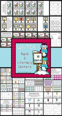 Winter Math & Literacy Centers for K/1....can be used as Write the Room or Center activities!  Includes:  more/less, counting sets, missing numbers, addition, CVC words, real/nonsense words, beginning & ending sounds