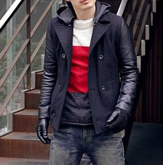 Men's PU Leather Sleeve Jacket with Removable Hood...$30