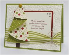 Christmas Tree Christmas Card.  I have made fabric Christmas napkins from this same circle pattern.  Very cute little tree!
