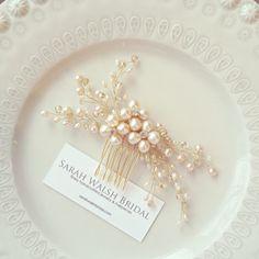 Blush Hairpiece Bridal Hairpiece Pearl Bridal por SarahWalshBridal