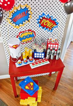 {Budget Friendly} Comic Book Style Super Hero Party // Hostess with the Mostess® Superhero Birthday Party, 4th Birthday Parties, Boy Birthday, Super Hero Birthday, Mermaid Birthday, Birthday Ideas, Comic Book Parties, Comic Party, Avenger Party