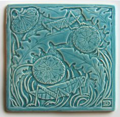 Flora Fauna Grasshopper 6x6 tile in glaze colors:  Iceland Sea, Cobalt, Evergreen Fir, Peacock, and Turquoise. $65.00, via Etsy.