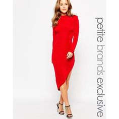 True Decadence Petite Asymetrical Body-Conscious Dress ($58) ❤ liked on Polyvore featuring dresses, red, bodycon dress, high neck dress, red dress, white high neck dress and high neck cocktail dress