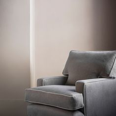 pure, stone washed linen from Italy. Soft to the touch, and a lovely depth of colour. The Orkney linen is showcased perfectly here on our Byron armchair. Contemporary Chairs, Contemporary Design, Wood Stain Colors, Luxury Interior Design, Luxury Furniture, Armchair, Cushions, 100 Pure, Linens