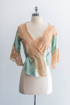 SOLD  Mint Blue Silk Lace Bed Jacket a37d548fe