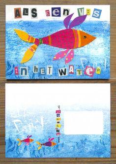 Als een vis in het water-kaart  - by El' Papel   te koop in het atelier in Zweeloo of via de webshop van El' Papel!