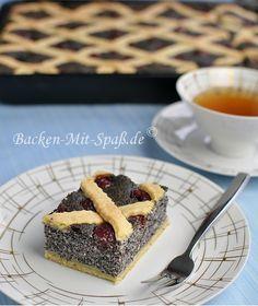 Poppy Seed cake with cherries Mohnkuchen mit Kirschen (in german)