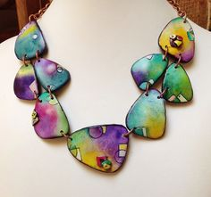 """Polymer clay, """"Wings"""" necklace, """"Graffiti"""" series 