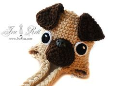 Handmade Crochet Pug Puppy Dog Hat for Boys and Girls
