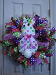 Easter Front Door Wreath - Easter Mesh Wreath - Spring Deco Mesh Wreath - Easter Bunny Wreath - Happy Easter Wreath - Spring Wreath by LuvOfWreaths on Etsy