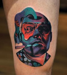 Psychedelic Raoul Duke tattoo, played by Johnny Depp in Fear And Loathing in Las Vegas. Thigh piece by David Cote.  http://tattooideas247.com/raoul-duke/