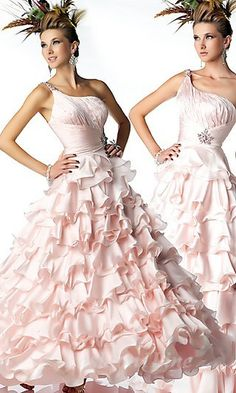 Pink Ball Gown One Shoulder Empire Long/Floor-length Sleeveless Tiered Prom Dresses Dress Prom Dress Stores, Prom Dress Shopping, Homecoming Dresses, Dress Prom, Pageant Dresses, Dress Long, Party Dress, Inexpensive Prom Dresses, Masquerade Dresses
