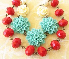 Statement Necklace Flower Necklace Turquoise Jewelry Red Necklace Bridesmaid Jewelry Double Strand Beadwork