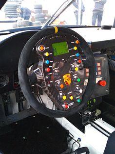 Flying Lizard Porsche GT3 steering wheel - no gauges on the dash.