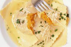 Butternut Squash Ravioli with White Wine Cream Sauce