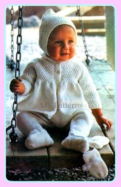 PDF Knitting Pattern for a Babies Pram Set with Matinee Coat, Leggings, Mittens & Pixie Hat