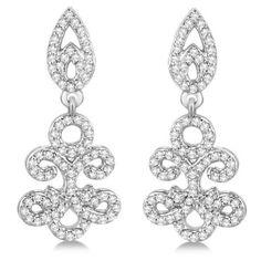 Allurez Fleur De Lis Diamond Drop Earrings Pave Set 14k White Gold... ($1,600) ❤ liked on Polyvore featuring jewelry, earrings, accessories, brincos, white, white diamond earrings, diamond jewelry, clear crystal drop earrings, clear earrings and 14k diamond earrings