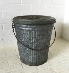 vintage galvanized metal trash can with lid bucket storage container