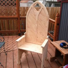 Here is a medieval chair i am making to go with my table/desk.