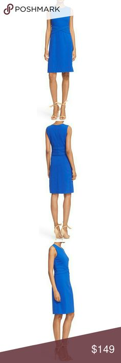"""NWT, Diane von Furstenberg Evita Dress DVF knows from experience that wrapped styling creates a universally flattering nipped-in silhouette. For this attractive and versatile dress crafted from smooth Italian ponte, she crisscrosses bands at the trapunto-stitched waist to visually slim and define the figure. 40 1/2"""" length (size 8). Hidden back-zip closure. Jewel neck. Sleeveless. Fitted waist. Unlined. 71% viscose, 24% polyamide, 5% elastane. Dry clean. Diane von Furstenberg Dresses"""