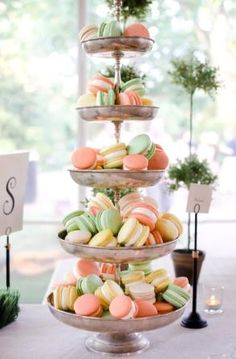 Macarons in pastel colors to match the wedding theme....