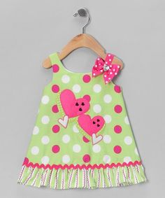Take a look at this Green & Pink Polka Dot Heart Dress - Infant by Youngland on today! Sewing Kids Clothes, Sewing For Kids, Baby Sewing, Toddler Girl Style, Toddler Dress, Baby Dress, Little Dresses, Little Girl Dresses, Fashion Kids